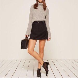 Reformation black belted a-line skirt, size 10